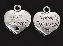 - Prívesok obojstranné srdiečko SISTERS ALWAYS - FRIENDS FOREVER - 6761879_