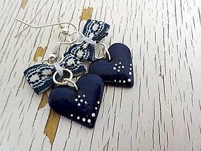 Náušnice - FOLK maľovaná modrotlač.. - 6763972_