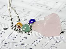 Rose Quartz & Gemstones / Náhrdelník so surovým ruženínom a inými minerálmi