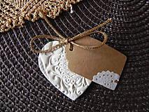 Svadobné srdiečko - tkané zlatou niťou