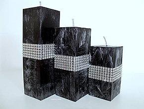 Svietidlá a sviečky - ČIERNE TRIO HRANOLY - 6765614_