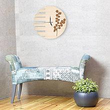 Hodiny - Drevené nástenné hodiny s kvetom - 6767888_