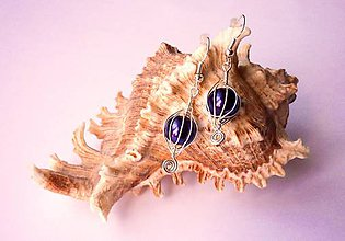 Náušnice - Fialové perličky v