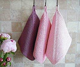 Úžitkový textil - Pletené chňapky - ružové (Fialová (Fuchsiová)) - 6766845_
