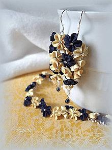 Sady šperkov - Tmavomodrá s vanilkovými fimo set - 6766862_