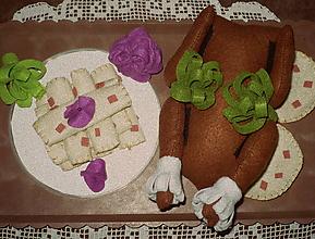 Hračky - Jedlo z filcu - pečená kačka s lokšami - 6768059_
