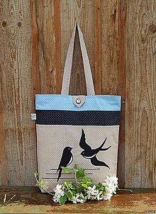 Nákupné tašky - Nákupná taška - lastovičky - 6766429_