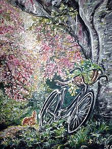 Obrazy - Sliepka a bicykel - 6768312_