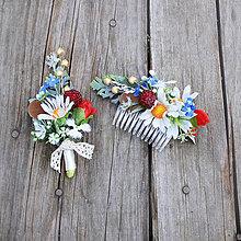 Ozdoby do vlasov - Súprava z lúčnych kvetov pre ženícha a nevestu - 6771496_