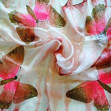 Šatky - Hodvábna šatka Motýle Shibori - 6769500_