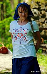 Tričká - Dámske tričko  maľované, folk KUKULIENKA - 6768564_