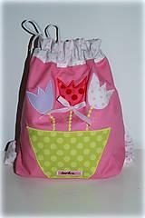 Detské tašky - Ruksak, batôžtek s tulipánmi 30X25 - 6771873_