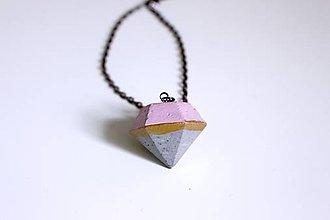Náhrdelníky - Betónový pastelový diamant - 6771752_