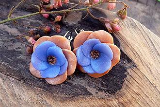 Náušnice - oranžovo-belasé kvety - 6768865_