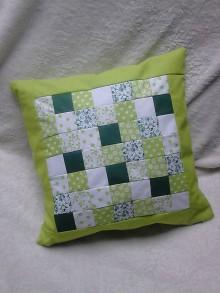 Úžitkový textil - Patchworkový vankúš zelený - 6772813_