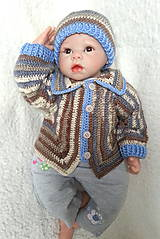 Detské súpravy - Melírovaný svetrík s čiapkou - 6775055_