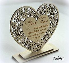 Darčeky pre svadobčanov - Srdiečko Poďakovanie rodičom 15 - 6776329_