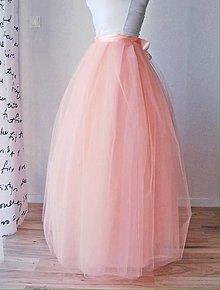 Sukne - Tylová sukňa broskyňová dlhá - 6774481_