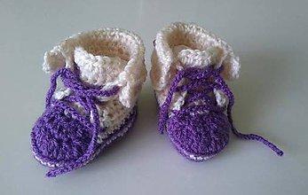 Topánočky - Háčkované tenisky pre dievčatko 0-3mes. - 6775409_