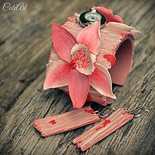 Sady šperkov - Ružová orchidea - sada hodiniek a náušníc - 6774646_