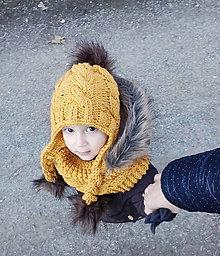 Detské čiapky - Horčicová súprava... - 6772597_