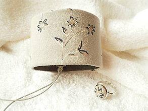 Sady šperkov - Textilný set, náramok a prsteň - 6773918_