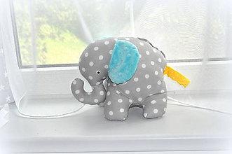 Hračky - Sloník s minky uškami z kolekcie MINT - 6780139_