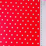 Textil - červeno-biele bodky; 100 % bavlna, šírka 160 cm, cena za 0,5 m - 6778986_