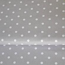 Textil - sivo-biele bodky; 100 % bavlna, šírka 160 cm, cena za 0,5 m - 6779018_