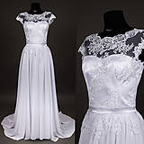 Šaty - Svadobné šaty z tylovej krajky s vlečkou - 6777706_