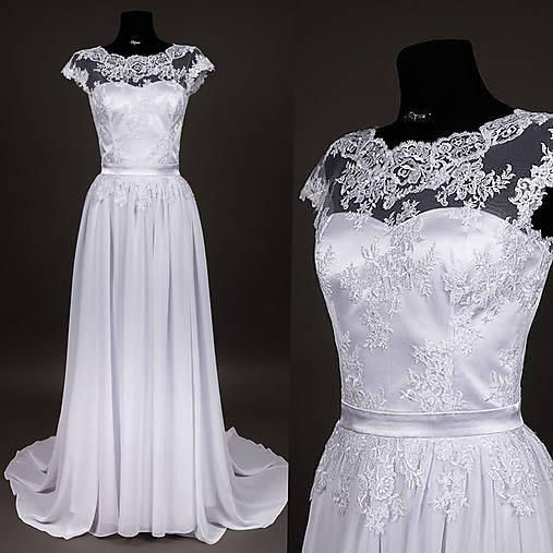 Svadobné šaty z tylovej krajky s vlečkou   Dyona - SAShE.sk ... defb67f0d75