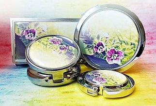 Zrkadielka - sada Kvietky - zrkadielko, háčik na kabelku, liekovka, púzdro na vizitky - 6778143_