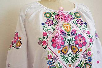 Košele - Vyšívaná košeľa FOLKflowers - 6780680_