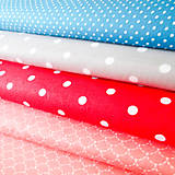 Textil - červeno-biele bodky; 100 % bavlna, šírka 160 cm, cena za 0,5 m - 6782511_