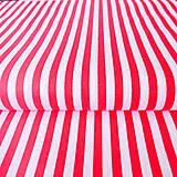 Textil - bielo-červené prúžky; 100 % bavlna, šírka 140 cm, cena za 0,5 m - 6782522_