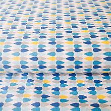 Textil - modré kvapky, 100 % bavlna, šírka 160 cm, cena za 0,5 m - 6782470_