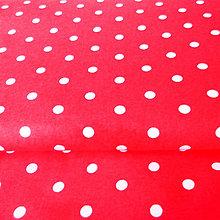 Textil - červeno-biele bodky; 100 % bavlna, šírka 160 cm, cena za 0,5 m - 6782502_
