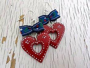 Náušnice - FOLK maľované srdcia s mašlou - 6780766_