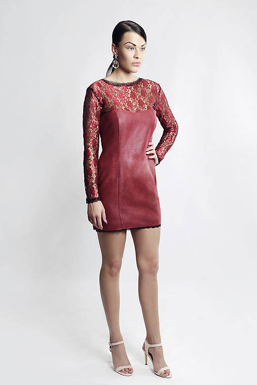 Koženkovo čipkové šaty Bordo   ceccilia - SAShE.sk - Handmade Šaty d4d10404b92