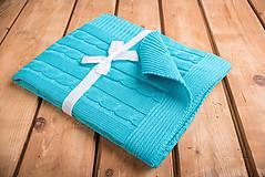 """Textil - Tyrkysová detská deka, ,,Vrkoč"""", OEKO-TEX®, 80x80 - 6785466_"""