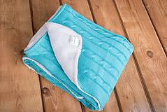 """Textil - Tyrkysová detská deka, ,,Vrkoč"""", OEKO-TEX®, 80x80 - 6785473_"""