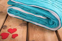 """Textil - Tyrkysová detská deka, ,,Vrkoč"""", OEKO-TEX®, 80x80 - 6785474_"""