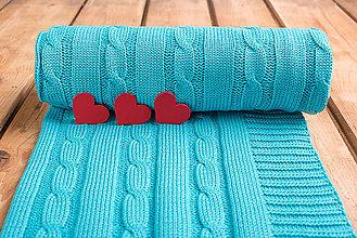 """Textil - Tyrkysová detská deka, ,,Vrkoč"""", OEKO-TEX®, 80x80 - 6785434_"""
