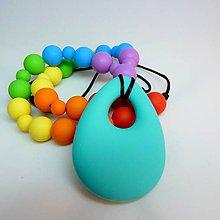 Detské doplnky - Silikónový náhrdelník dúhová SLZA - 6787091_