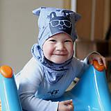 Detské čiapky - Čiapka s nákrčníkom modrá (potlač Zajko modrý) - 6784881_