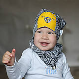 Detské čiapky - Čiapka s nákrčníkom šedá (potlač Macko žltý) - 6784908_