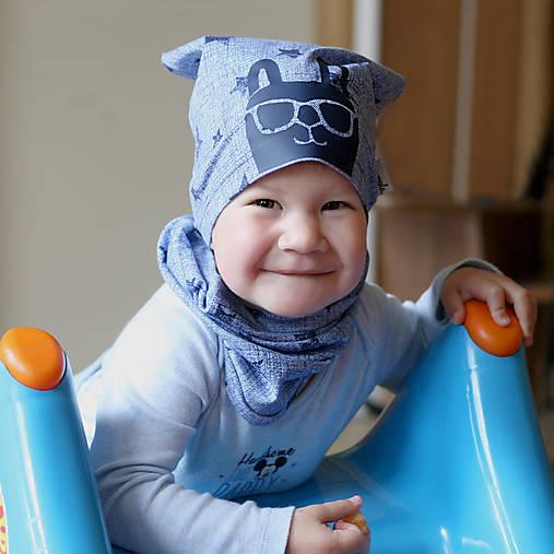 Čiapka s nákrčníkom modrá (potlač Zajko modrý)