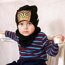 Detské čiapky - Čiapka s nákrčníkom čierna (potlač Sovička) - 6784831_