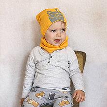 Detské čiapky - Čiapka s nákrčníkom žltá (potlač Zajko) - 6784862_