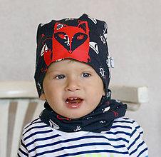 Detské čiapky - Čiapka s nákrčníkom námornícká (potlač Líštička) - 6784873_